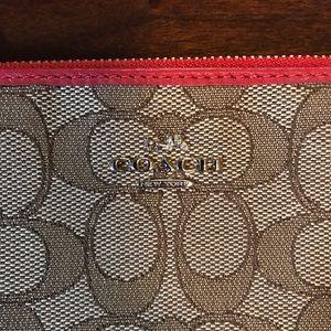 Coach Bags - Coach Khaki & Red Jacquard Saddle Wristlet Wallet